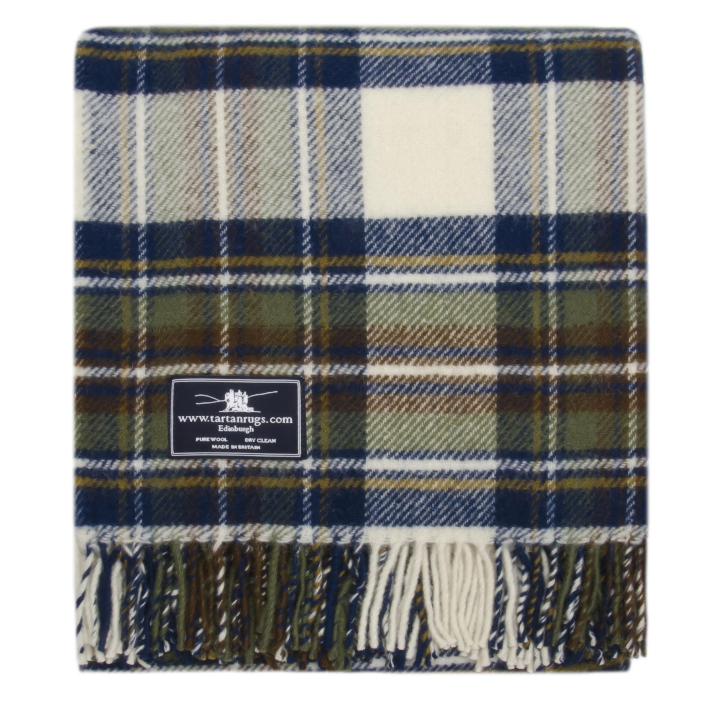 Muted Blue Dress Stewart Tartan Premium Wool Travel Rug