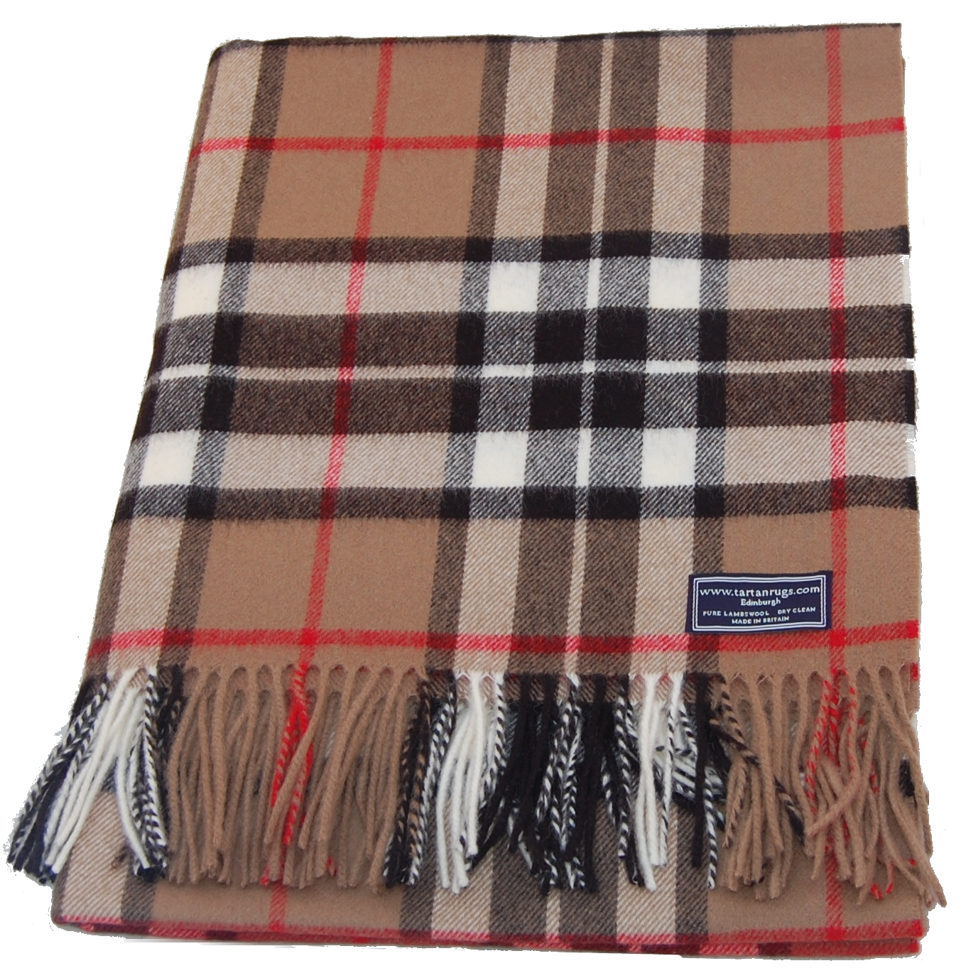 camel thomson tartan lambswool travel rug. Black Bedroom Furniture Sets. Home Design Ideas