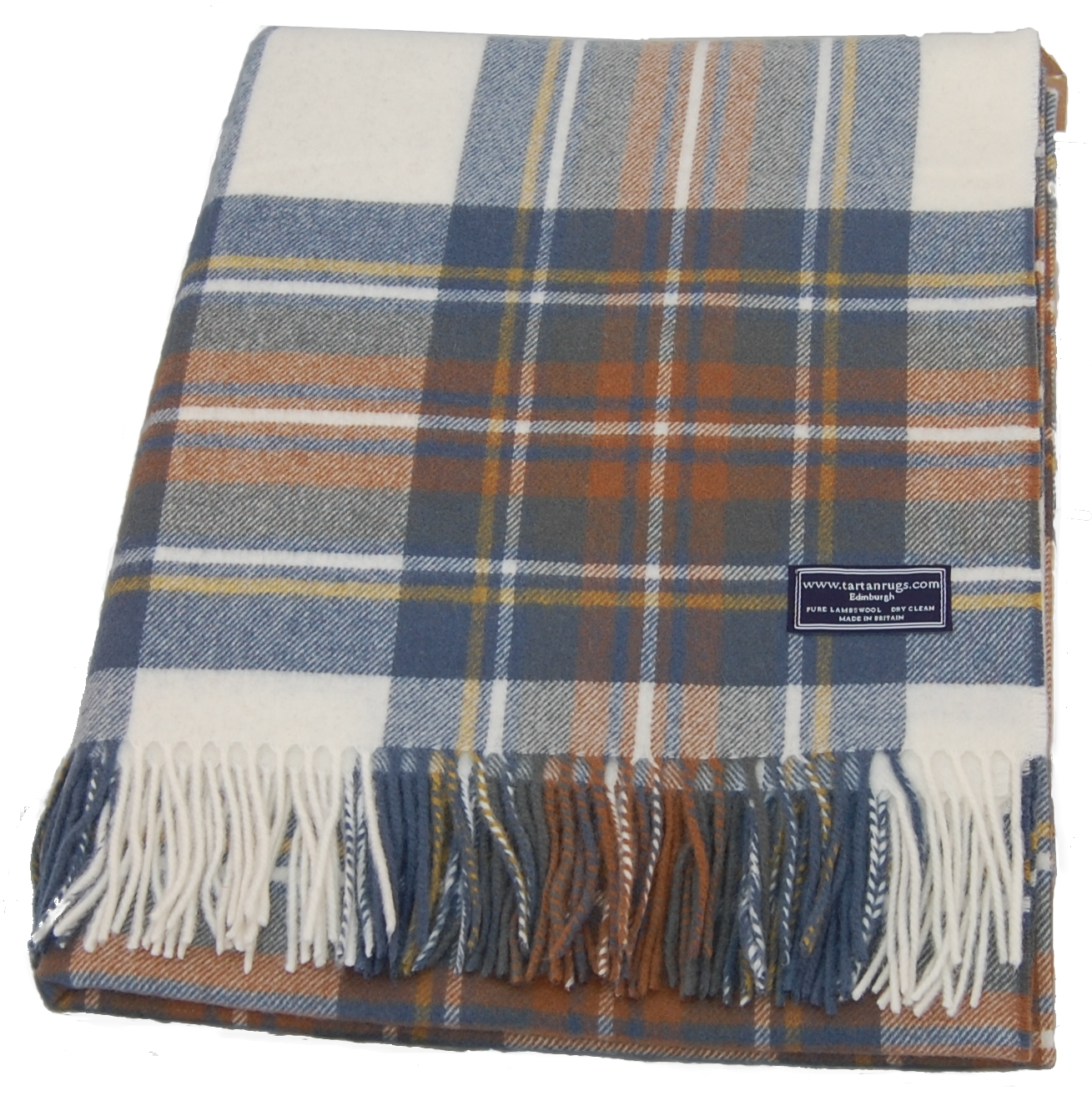 Bronte Muted Blue Tartan Lambswool Travel Rug