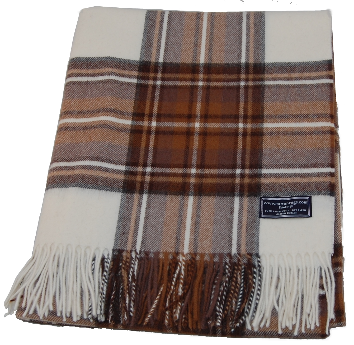 Bronte Natural Dress Tartan Lambswool Travel Rug