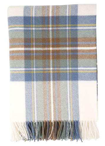 Johnstons of Elgin Muted Blue Dress Stewart Tartan Lambswool Travel Rug