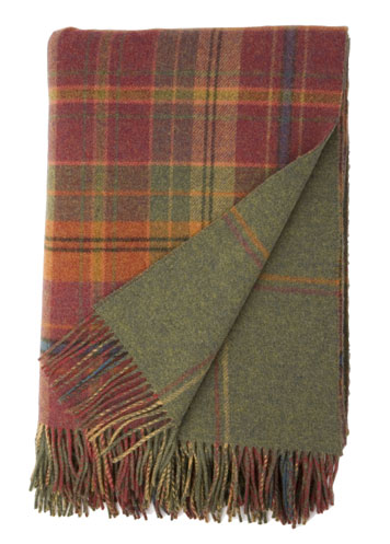 Johnstons Of Elgin Dunoon Reversible Red Check And Green