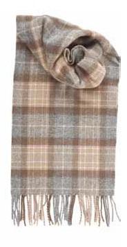Johnstons Of Elgin Natural Mackellar Tartan Cashmere Scarf