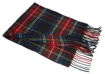 Lochcarron Black Stewart Tartan Lambswool Scarf
