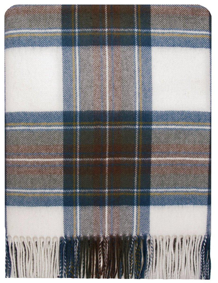 Dress Blue Stewart Tartan Lambswool Travel Rug