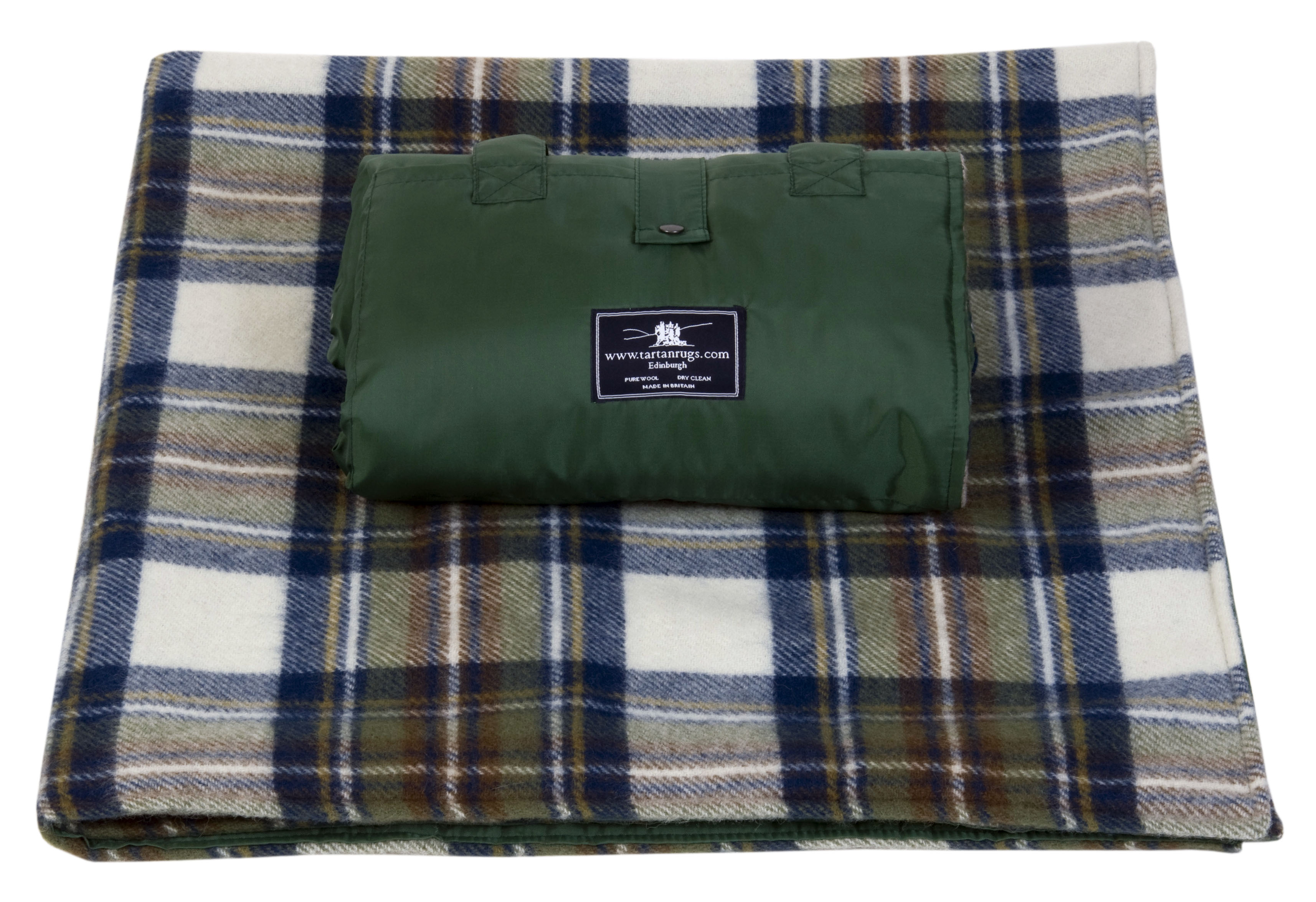 Muted Blue Tartan Waterproof Picnic Rug